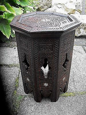 Octagonal Antique Anglo Indian  Inlaid Wooden Side Table