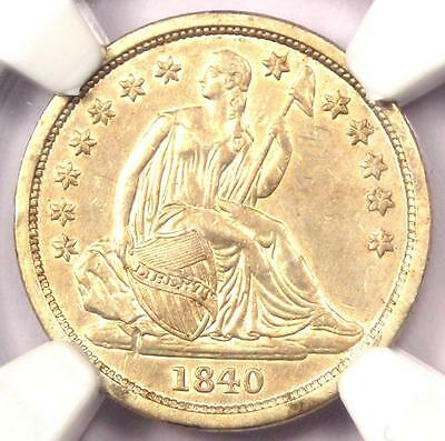 1840 Seated Liberty Dime 10C No Drapery - Certified NGC AU Details - Rare Date!