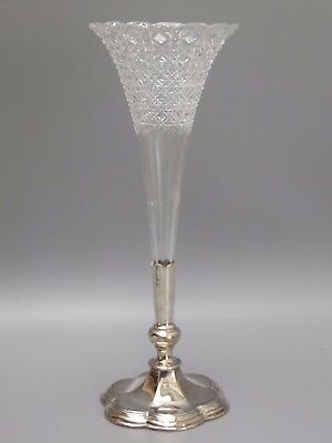 Vintage Beautiful Design Lead Crystal Cut Glass Vase With Silver Plated Base