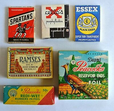 Lot of 6 Cardboard not Tin Condom Prophylactic Boxes, Peacocks Ramses, Spartans