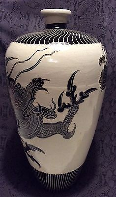 Antique Chinese Cizhou Pottery Black Scraped Long Dragon Meiping Vase