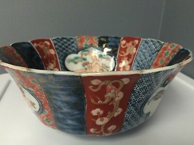 IMARI Early 19th Century Antique Japanese Porcelain Bowl Scalloped Fluted Edge