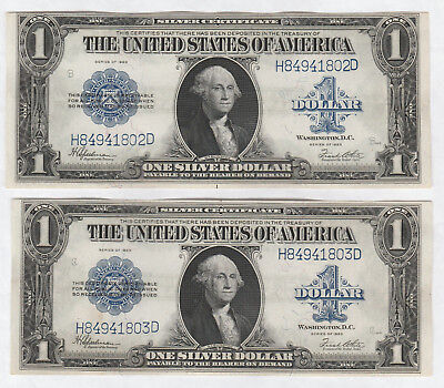 Consecutively Numbered Pair of 1923 Silver Certificates--$1 note #262, Fr. 237