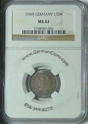 CHEAP! Germany 1909-J 1/2 Mark, NGC MS62, rich, steel-blue toning