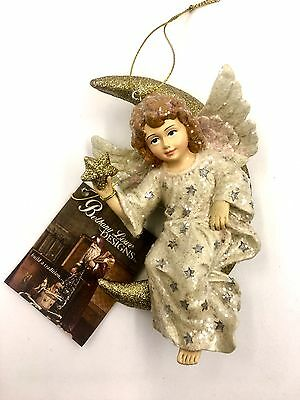 Whimsical Angel in Moon Ornament - Girl Wings Gold Star - Bethany Lowe SN6834
