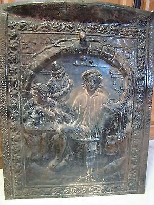Antique Embossed Tin Fireplace Summer Cover Screen Late 1800s