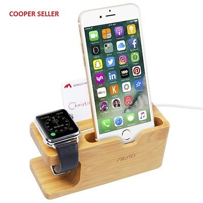 Apple Watch Stand, Aerb Bamboo Wood Charging Stand Bracket Docking Station...
