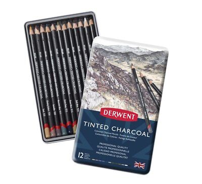 Derwent Tinted Charcoal Pencils 12 Tin - Set of Assorted Soft, Blendable Colour