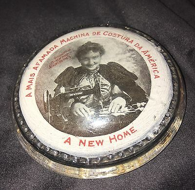 Antique Vintage New Home Seeing Machine Advertising Paperweight