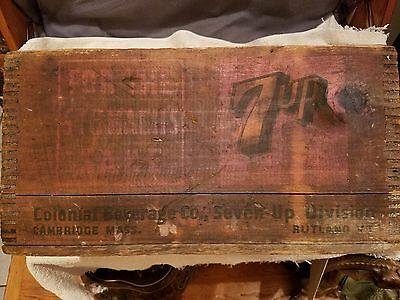 Vintage 1930's 7 Up Soda Wooden Dovetail Box Crate For The Stomach's Sake Rare!!