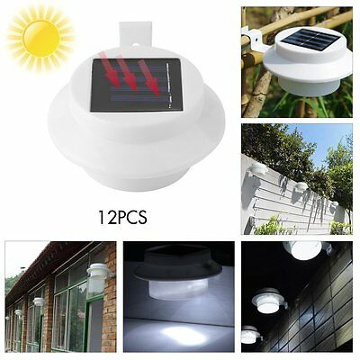 12X 3LED Solar Fence Light Gutter Lamp Outdoor Garden Yard Pathway Wall Bulb EH