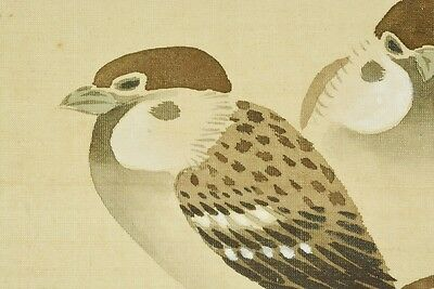 """Hanging Scroll 65.9"""" Japanese Painting Sparrow Picture Art Japan Antique b660"""