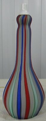 Antique? Old Vintage Barber Bottle Striped Blue Green Red Clambroth Satin Glass