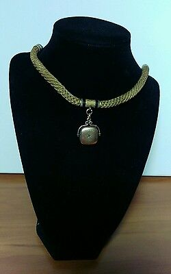 Vintage Victorian Mourning Braided Hair  Chatelaine Necklace Gold Fill Locket