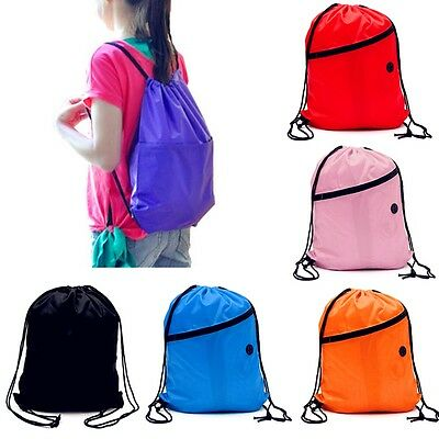 HOT Girls/Boys Drawstring Swim Sports Shoe Dance Bag Schoolbag Backpack PE Gym