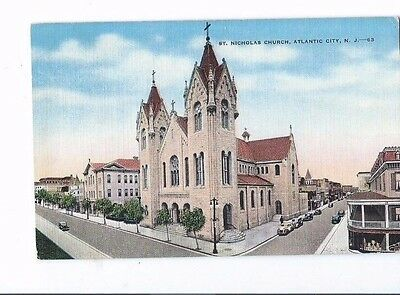 Vintage Postcard Linen  1940 St.Nicholas Church Atlantic City N.J   Old Cars