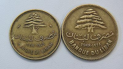 Two 1969 Lebanon Coins 10 & 25 Piastres Lot Ll42