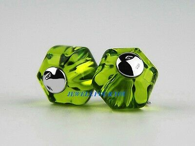 Baccarat Jewelry Bead Sherazade Olive Green Sterling Silver New Made In France
