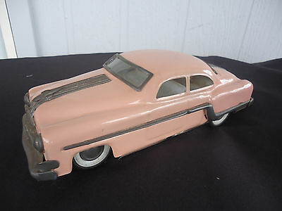 vintage art deco hudson hornet push along toy tin car pink 25cm