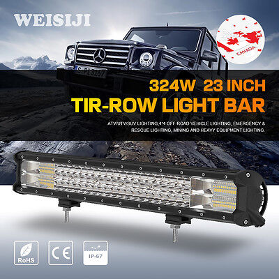 "23Inch 324W Cree Led Spot Flood Combo Work Light Bar Driving Lamp 20/23"" WEISIJI"