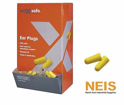 Maxisafe Ear Plugs 200 Pairs inDispenser Box Soft Foam Class 5 Protection HEU645