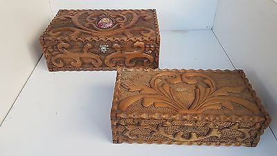 2 large carved wood decorative boxes