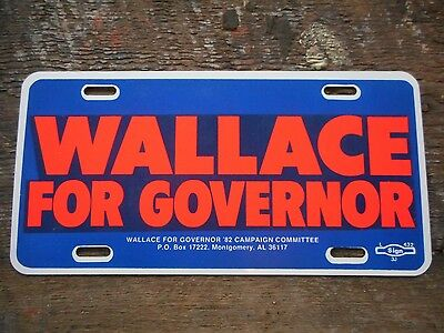** Vintage 1982 New Old Stock George Wallace for Governor Alabama Metal Tag **