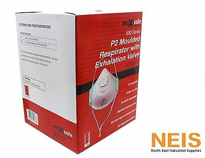Maxisafe P2 Moulded Respirator Mask w/Exhalation Valve 10 Pk RES504 AS/NZS 1716