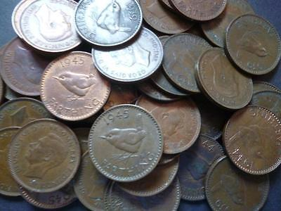 Farthing coins a pack of ten coins in good used condition George 6th Wren type.