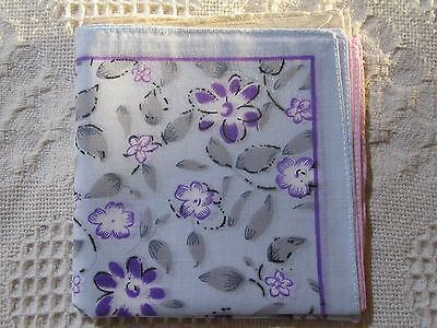 Ladies 100% Cotton Floral Design Handkerchiefs 6 Pack