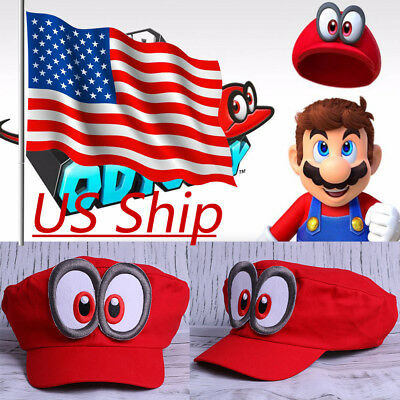 Game Super Mario Odyssey Cap Adult Kids Anime Cosplay Red Mario Hat Handmade New