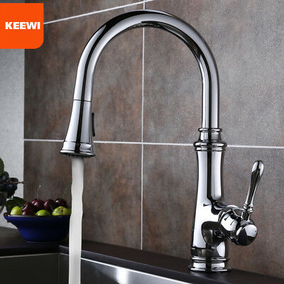 Keewi Kitchen Faucet Chrome Single Handle with Sprayer, Kitchen Sink Faucet