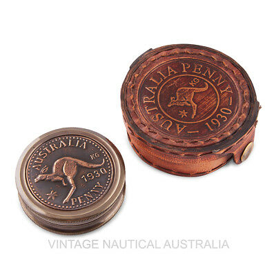 Vintage Nautical Compass Australian Penny Screw Top Antique Brass Gift Wood Box