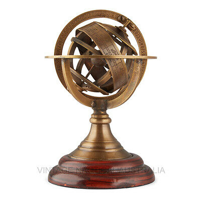 World Globe – Brass Armillary Zodiac (Mini)-VINTAGE NAUTICAL AUSTRALIA