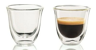 DELONGHI 2 CUPS DOUBLE WALL THERMAL GLASS BOROSILICATE COFFEE' 60ml