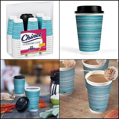 50 Pcs 16-Ounce Insulated Hot Beverage Drinking Cups With Lids For Coffee Tea