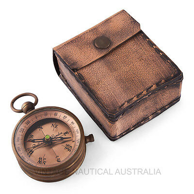 Vintage Nautical Compass Dollond London Brass Antique Gift Camping Leather Case