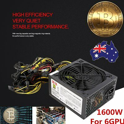 1600W Power Supply For 6GPU Eth Rig Ethereum Coin Mining Miner Dedicated AU