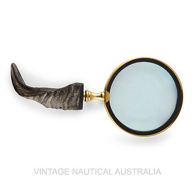 Vintage Nautical Magnifying Glass Natural Wood Handle Brass Frame Antique Gift