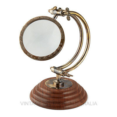 Vintage Nautical Magnifying Glass Curved Arm Henry Hughes Antique Brass Gift