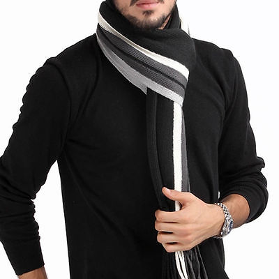 Men Classic Cashmere Scarf Winter Warm Soft Fringe Striped Tassel Shawl Wrap ZI