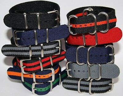 New NATO Watch Strap Military Divers Sport Nylon Band 18mm 20mm Solid Strong UK