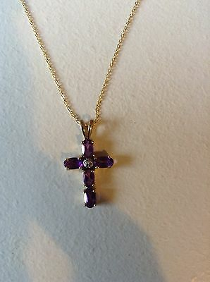 9 Kt Gold Cross Necklace with Amethyst & Small Diamond Crucifx Pendant