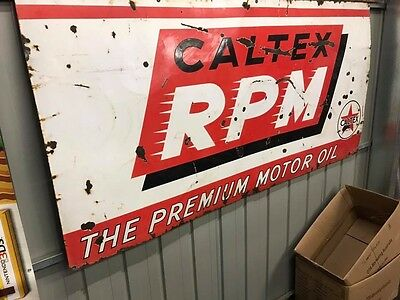 Caltex RPM 6x3 Genuine Vintage Enamel Petrol Oil Sign Tin Grease Rack Top Bottle