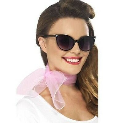 Pink Chiffon 50s Neck Scarf Ladies Women Fancy Dress Costume Hen Party Accessory