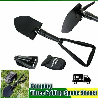 Carbon Steel Three Folding Spade Shovel Camping Portable Survival Tool GT
