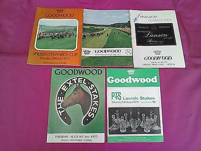 All 5 Glorious Goodwood Race cards from the 1975 July Festival meeting