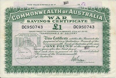 Australia 1945 KGVI £1 War Saving Certificate Issued at Bourke St VIC VF Scarce
