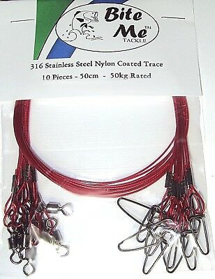 316 WIRE TRACE LEADER STAINLESS STEEL 50kg Rated 50cm RED NYLON COATING SWIVEL