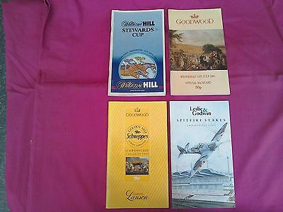4 Glorious Goodwood Race cards from the 1991 July Festival meeting